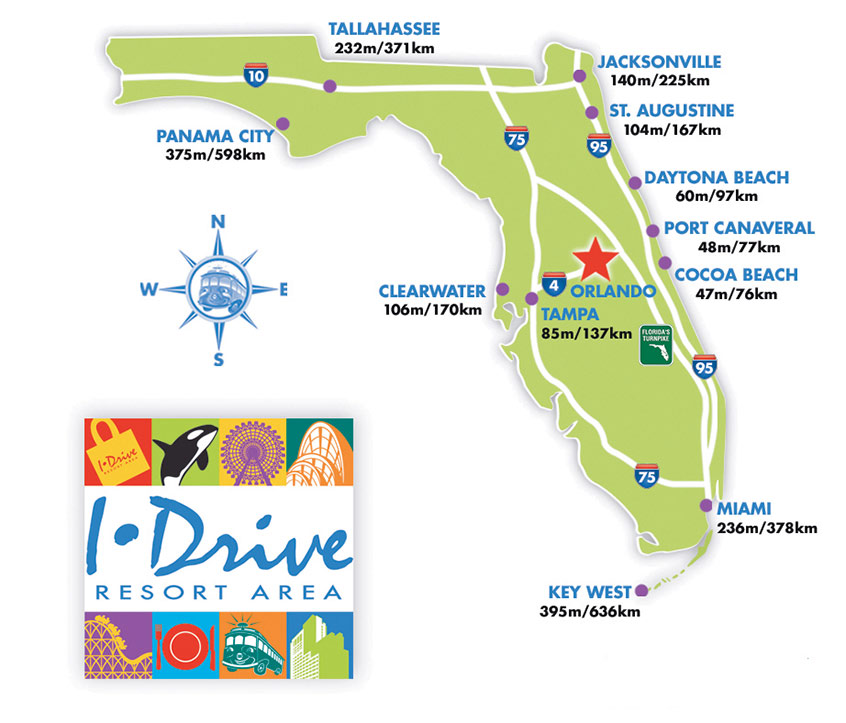 Orlando Maps Maps of IDrive International Drive Resort Area – Tourist Attractions Map In Orlando Florida